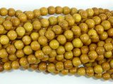 Yellow Wood Beads, Nangka Wood Beads, 6mm(5.8mm) Round Beads, 23 Inch