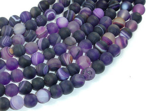 Matte Banded Agate Beads, Purple, 8mm(8.5mm) Round Beads, 15 Inch