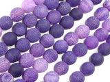Frosted Matte Agate Beads, Purple, 10mm Round Beads, 15.5 Inch