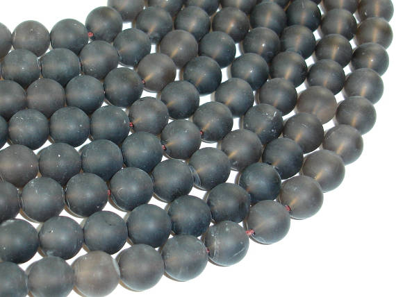 Matte Smoky Quartz Beads, 10mm Round Beads-BeadBasic