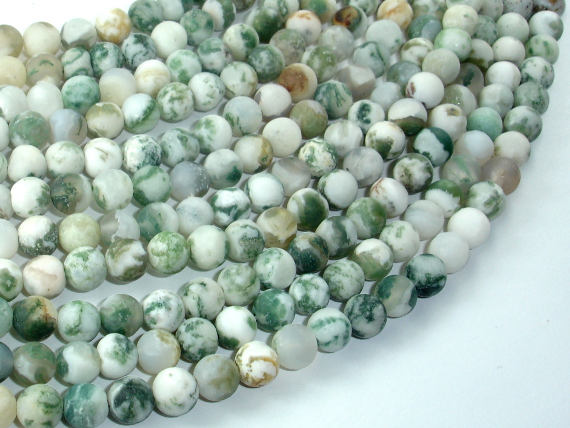 Matte Tree Agate Beads, Round, 6mm-BeadBasic