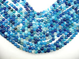 Banded Agate Beads, Striped Agate, Blue, 8mm Round Beads-BeadBasic