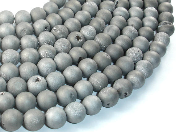 Druzy Agate Beads, Silver Gray Geode Beads, 10mm Round Beads-BeadBasic