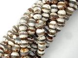 Tibetan Agate Beads, Brown, 10mm Faceted Round Beads-BeadBasic