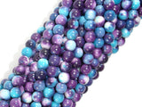 Rain Flower Stone Beads, Blue, Purple, 4mm Round Beads-BeadBasic