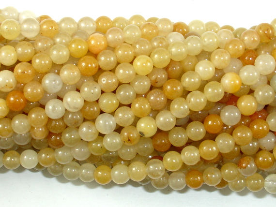 Yellow Aventurine Beads, 4mm(4.5mm) Round Beads, 15.5 Inch, Full strand