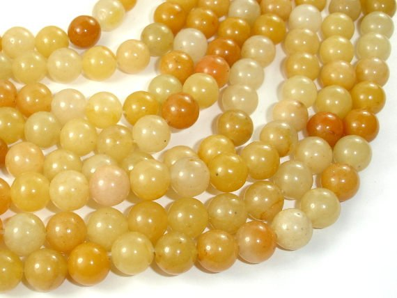 Yellow Aventurine Beads, 8mm(8.5mm) Round Beads, 15 Inch, Full strand
