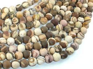 Matte Brown Zebra Jasper Beads, 8mm Round Beads-BeadBasic