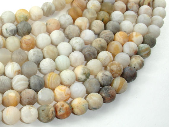Matte Bamboo Leaf Agate, 8mm (8.7mm) Round Beads, 15.5 Inch, Full strand