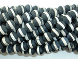 Matte Black Onyx Beads, with White Line, 8mm Round Beads-BeadBasic