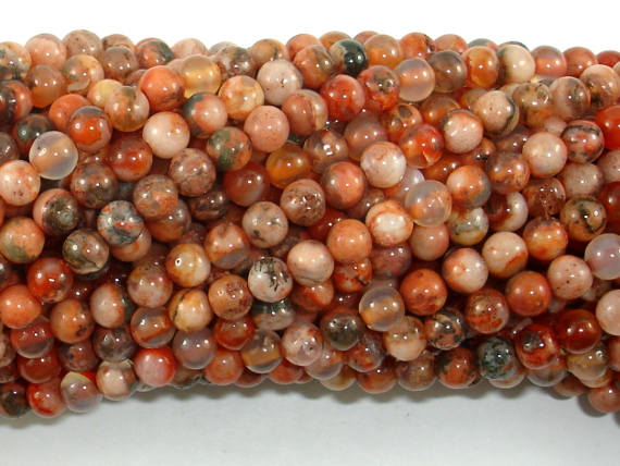 Agate Beads, Orange, 4mm(4.3mm) Round Beads, 16 Inch