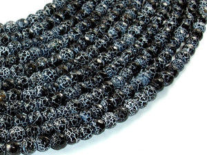 Black Crackle Agate, 6mm Faceted Round Beads, 13 Inch-BeadBasic