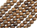 Gold Phoebe Ebony Beads, Gold Wire Sandalwood, 8mm Round Beads, 34 Inch