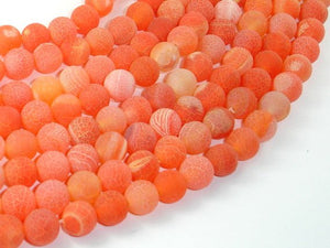 Frosted Matte Agate- Orange, 8mm Round Beads-BeadBasic