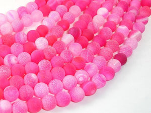 Frosted Matte Agate Beads-Pink, 8mm Round Beads-BeadBasic