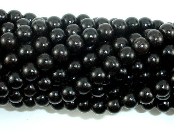 Black Sandalwood Beads, 6mm (6.3mm) Round-BeadBasic
