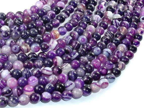 Banded Agate Beads, Purple, 6mm(6.5mm) Round-BeadBasic
