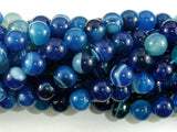 Banded Agate Beads, Blue, 10mm(10.5mm) Round Beads, 15.5 Inch