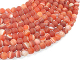 Matte Banded Agate Beads, Red & Orange, 8mm Round Beads-BeadBasic