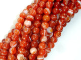 Banded Agate Beads, Red & Orange, 6 mm Round-BeadBasic