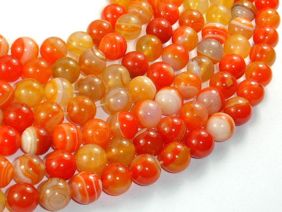 Banded Agate Beads, Orange, 10mm(10.5mm) Round Beads, 15.5 Inch