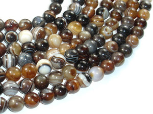 Banded Agate Beads, Brown, 10mm(10.5mm) Round Beads, 15 Inch