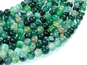 Banded Agate Beads, Green, 8mm(8.3mm) Round Beads, 15.5 Inch