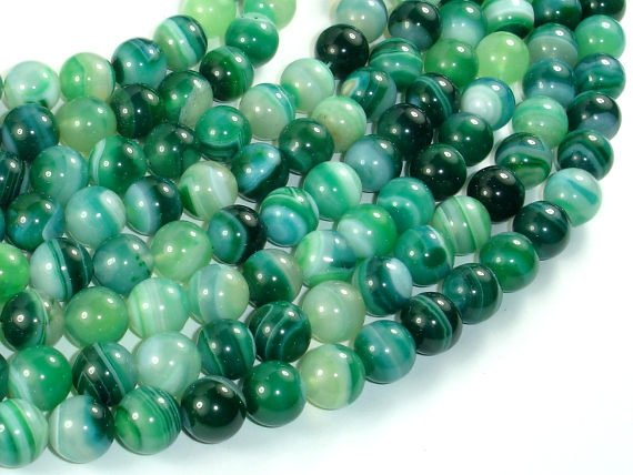Banded Agate Beads, Green, 10mm(10.5mm) Round Beads, 15.5 Inch