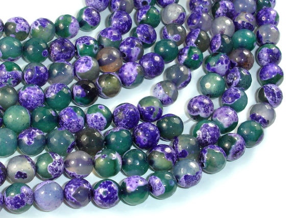 Agate Beads, Purple & Green, 8mm Faceted-BeadBasic