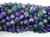 Agate Beads, Purple & Green, 8mm Faceted Round Beads, 15 Inch