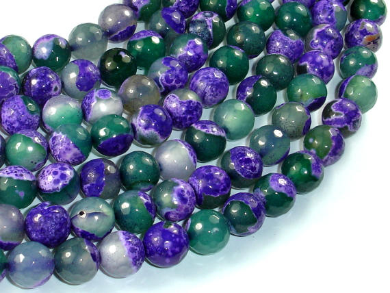 Agate Beads, Purple & Green, 10mm Faceted Round Beads, 15 Inch