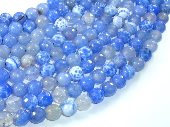 Fire Agate Beads, Blue & White, 8mm(8.3mm) Faceted Round Beads, 15 Inch