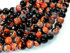 Agate Beads, Orange & Black, 10mm Faceted Round-BeadBasic