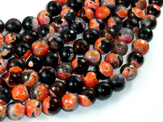 Agate Beads, Orange & Black, 10mm Faceted Round Beads, 15.5 Inch