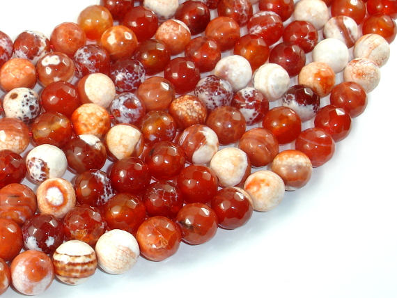 Fire Agate Beads, Orange & White, 10mm Faceted Round-BeadBasic