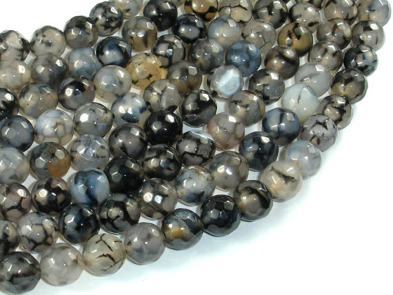 Dragon Vein Agate Beads, Black & Clear, 10mm Faceted Round Beads-BeadBasic
