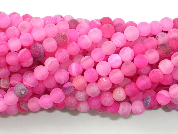 Frosted Matte Agate - Pink, 4mm(4.3mm) Round Beads, 15.5 Inch, Full strand