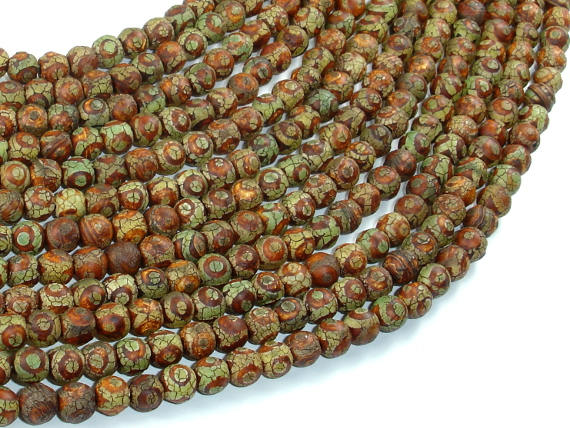 Crackle Tibetan Agate, 6mm Round Beads-BeadBasic