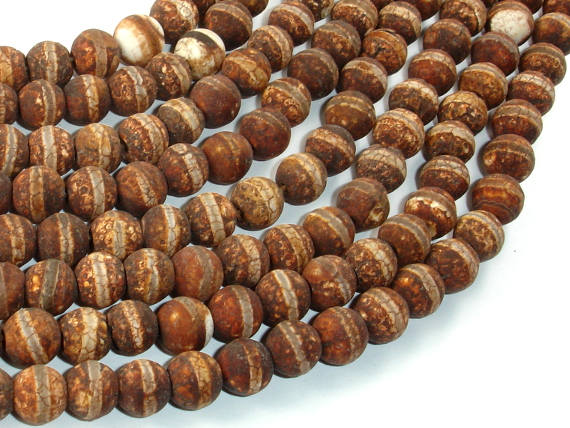 Crackle Tibetan Agate, 8mm Round Beads, 14 Inch, Full strand