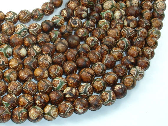 Crackle Tibetan Agate, 8mm Round Beads, 15 Inch, Full strand