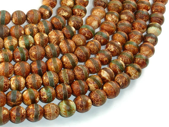 Crackle Tibetan Agate, 10mm Round Beads-BeadBasic