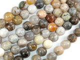 Bamboo Leaf Agate, 10mm (10.3 mm) Round Beads-BeadBasic