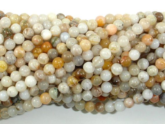 Bamboo Leaf Agate, 4mm (4.3mm) Round Beads, 15.5 Inch, Full strand