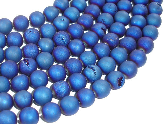 Druzy Agate Beads, Blue Geode Beads, 10mm (10.5mm) Round Beads, 15 Inch