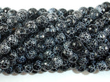 Black Crackle Agate, 8mm (7.8mm) Faceted Round Beads, 14 Inch-BeadBasic