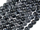 Black Crackle Agate, 10mm (9.5mm) Faceted Round Beads, 14 Inch-BeadBasic
