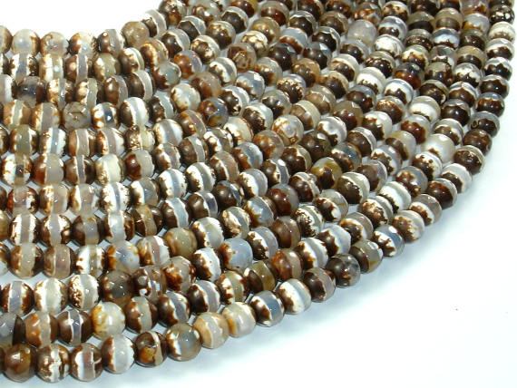Tibetan Agate Beads, Brown, 6mm Faceted Round Beads-BeadBasic