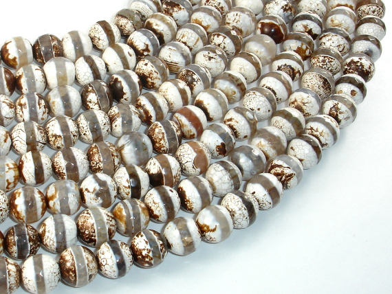 Tibetan Agate Beads, Brown, 10mm Faceted Round Beads, 14 Inch