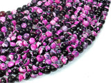Agate Beads, Pink & Black, 6mm(6.3mm) Faceted Round Beads, 15 Inch