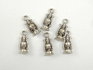 Oil Lamp Charms, Lantern Charms, Zinc Alloy, Antique Silver Tone 20pcs-BeadBasic